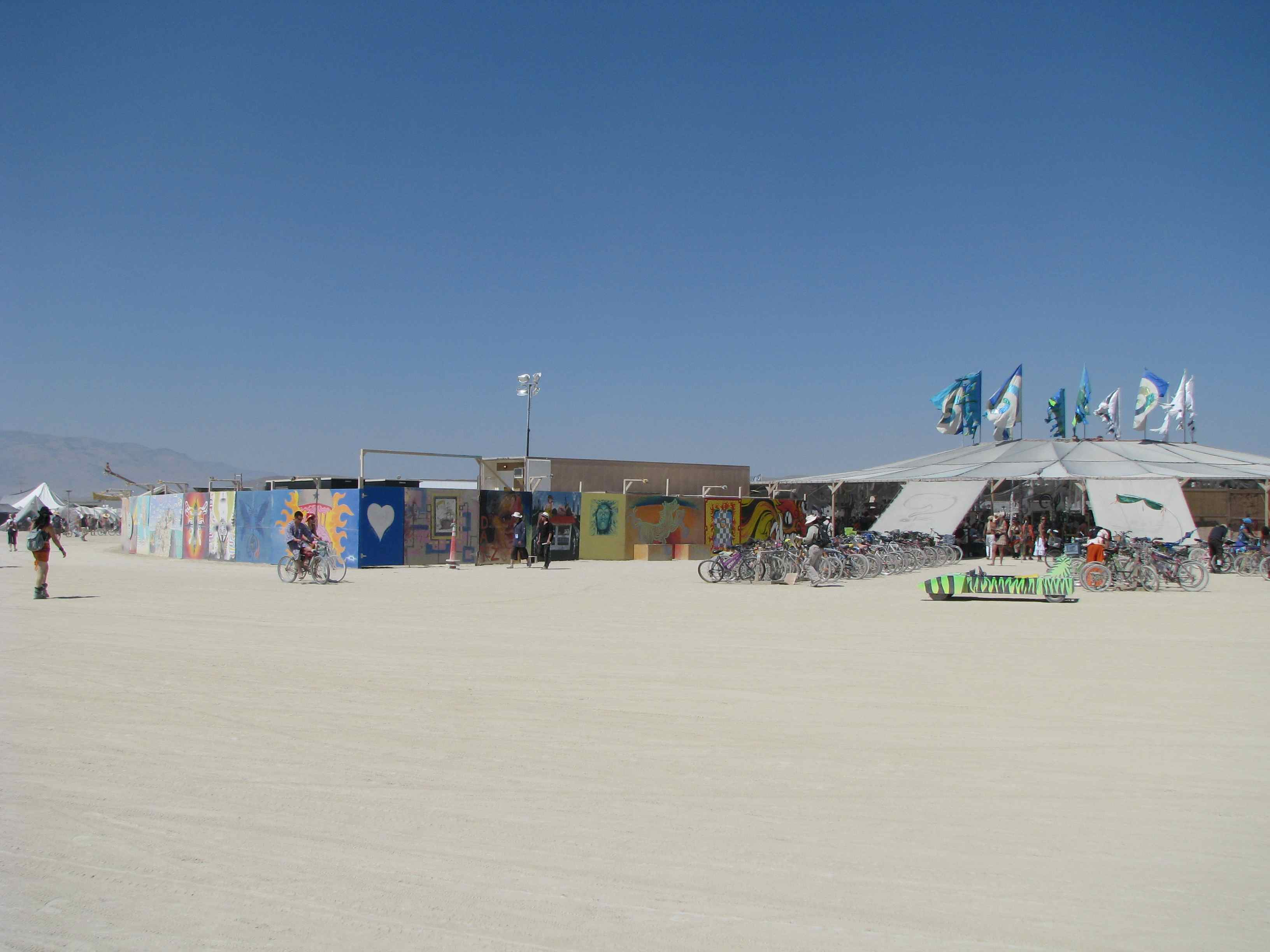 The outside of Center Camp-Burning Man 2011