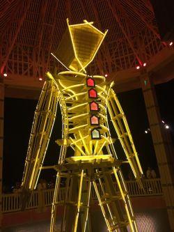 closeup of the Man at night inside the pagoda