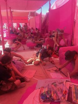 Freaks making flags at Pink Heart during the FYFFH workshop