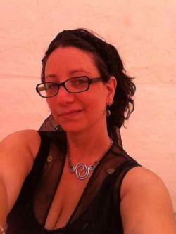 Me in the SSV office tent-Burning Man 2011