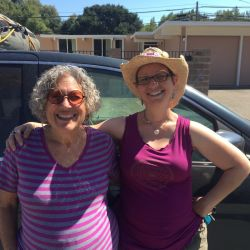 Julia and Emily all packed up and ready to leave for Burning Man. Look how clean we are!