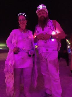 Supernova and Mystic dressed up for the white party