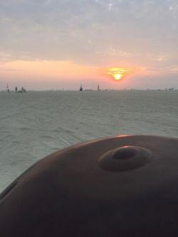 handpan at sunrise
