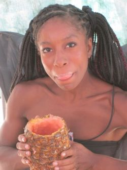 Nia with pineapple